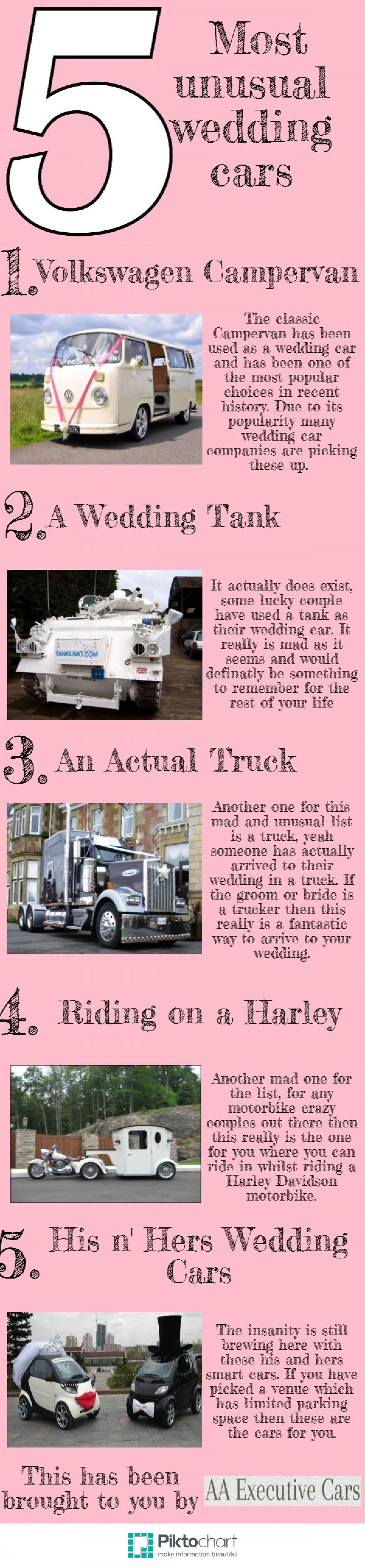 5 most unusual wedding cars Infographic