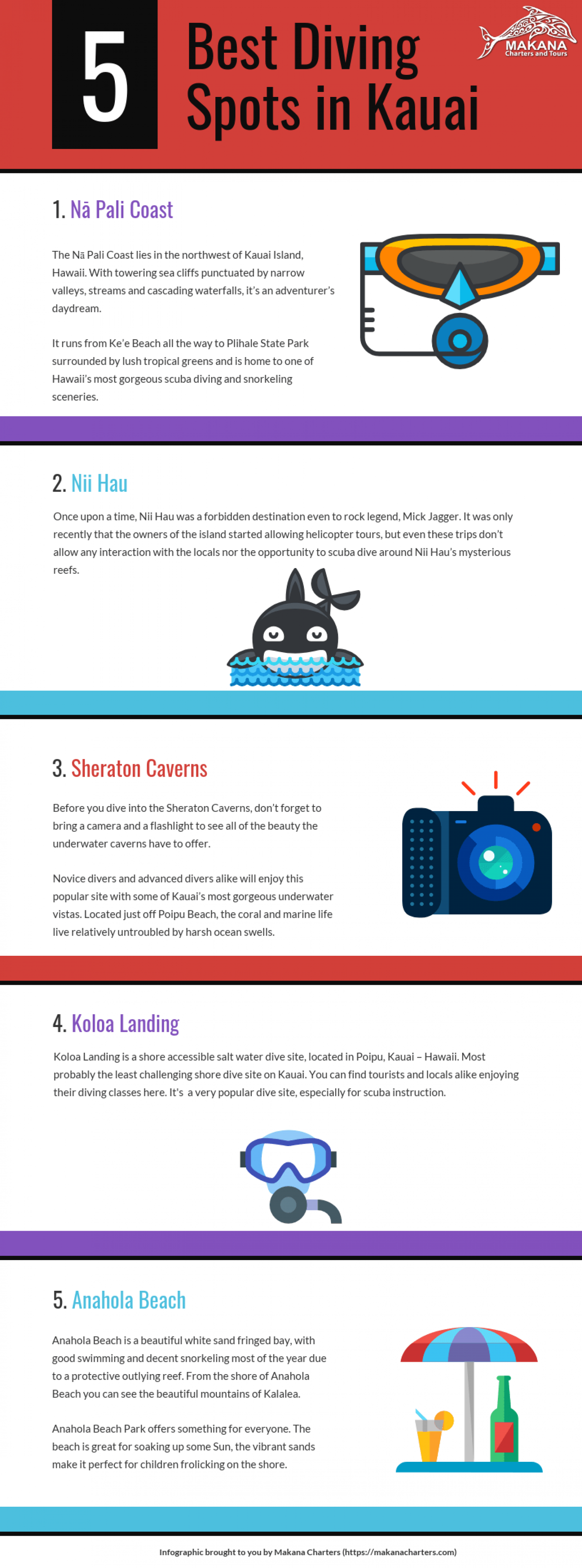 5 of the Best Diving Spots in Kauai [Infographic] Infographic