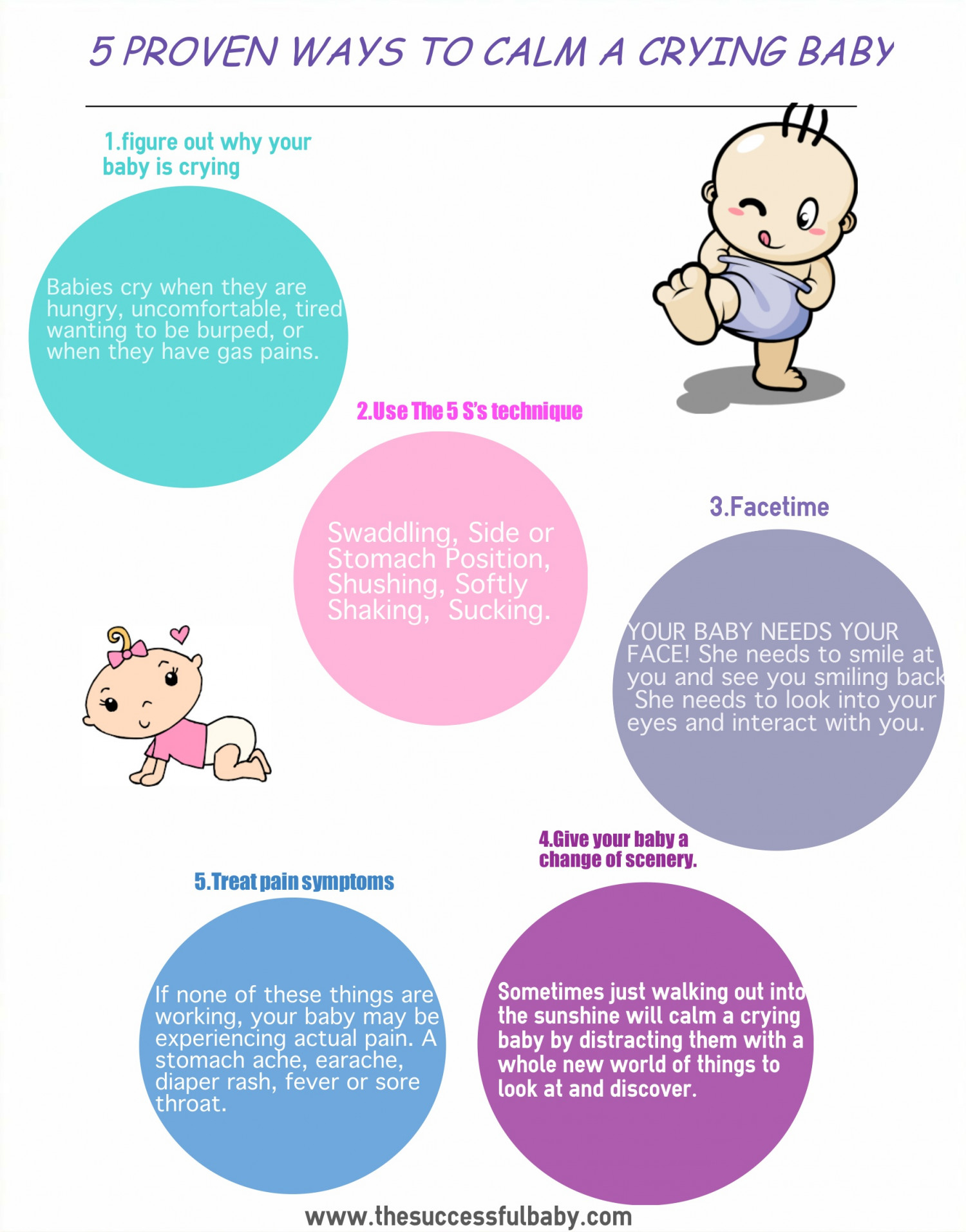 5 Proven Way To Clam Crying Baby Infographic