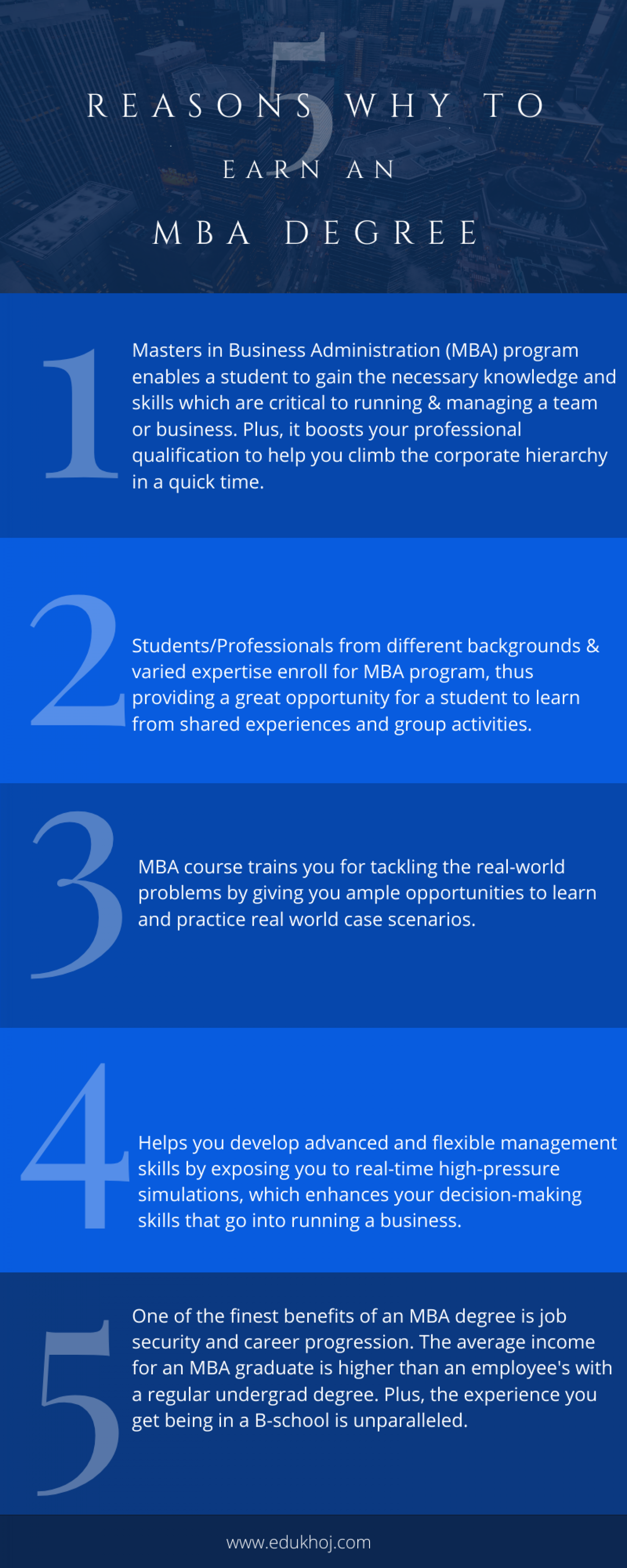 5 Reasons Why to Earn an MBA Degree Infographic