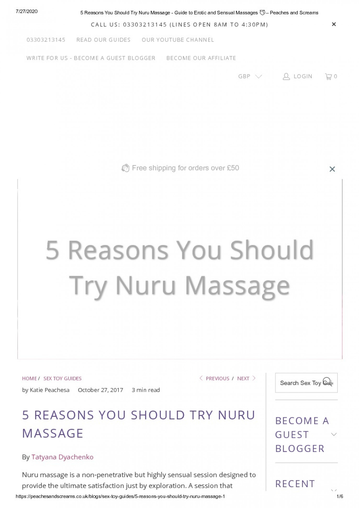 5 REASONS YOU SHOULD TRY NURU MASSAGE Infographic