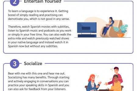 5 Rockstar Tips to Learn Spanish At Home Infographic