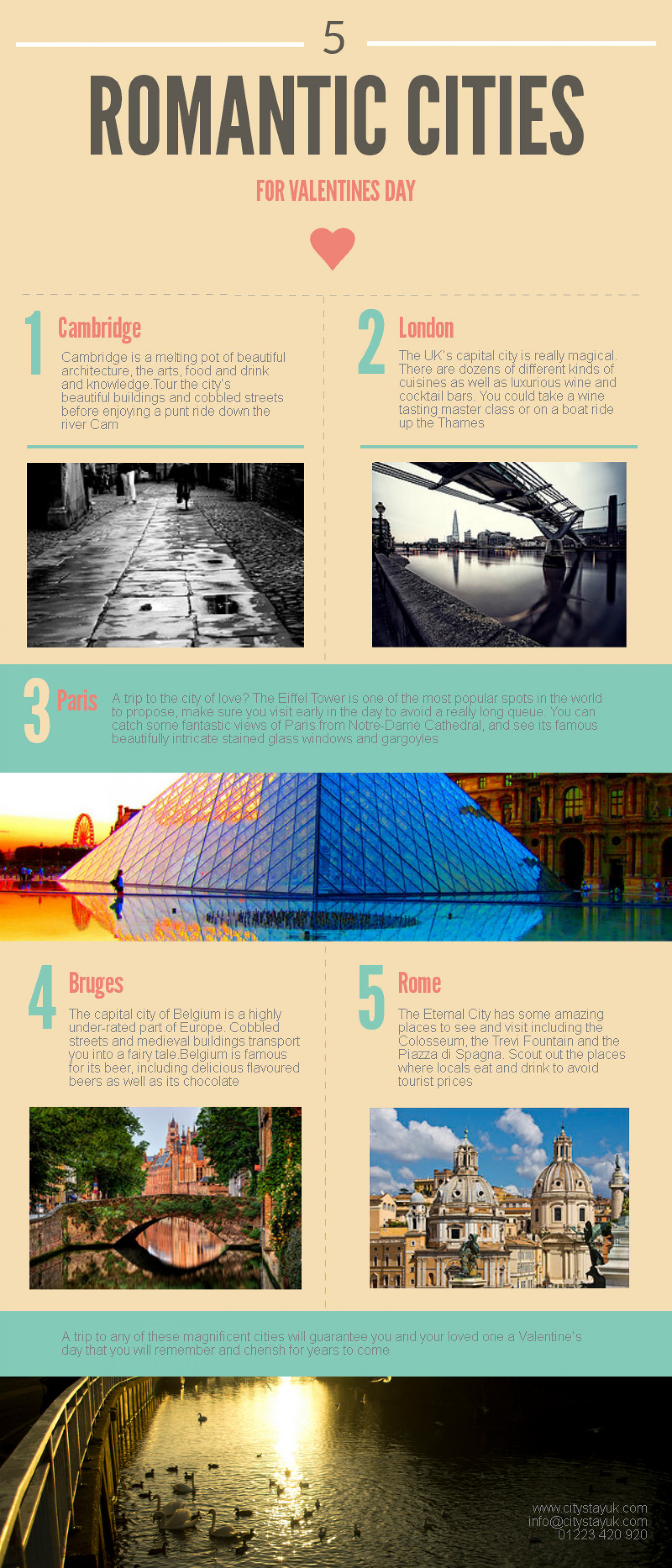 5 Romantic Cities for Valentine's Day Infographic