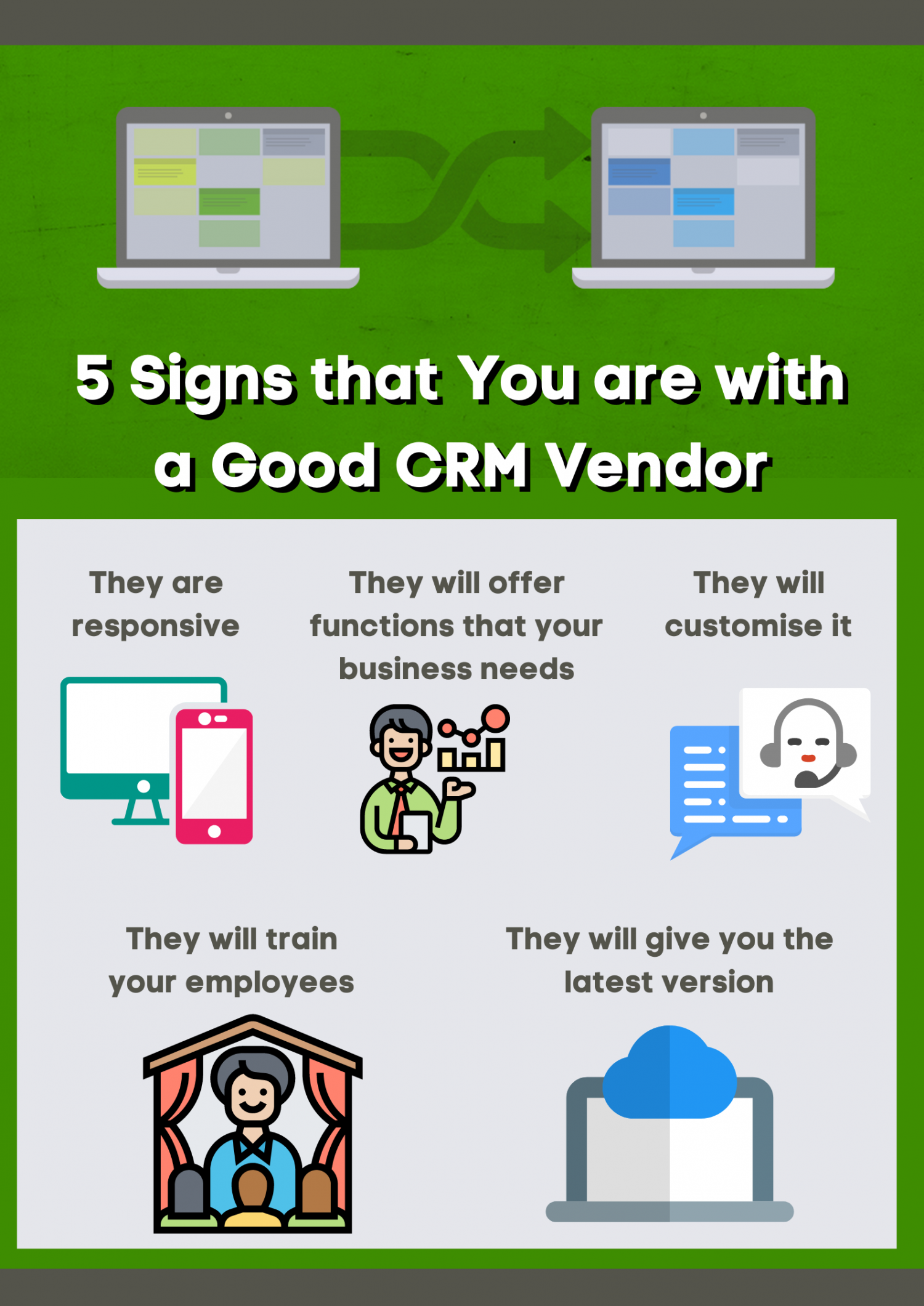 5 Signs that You are with a Good CRM Vendor Infographic