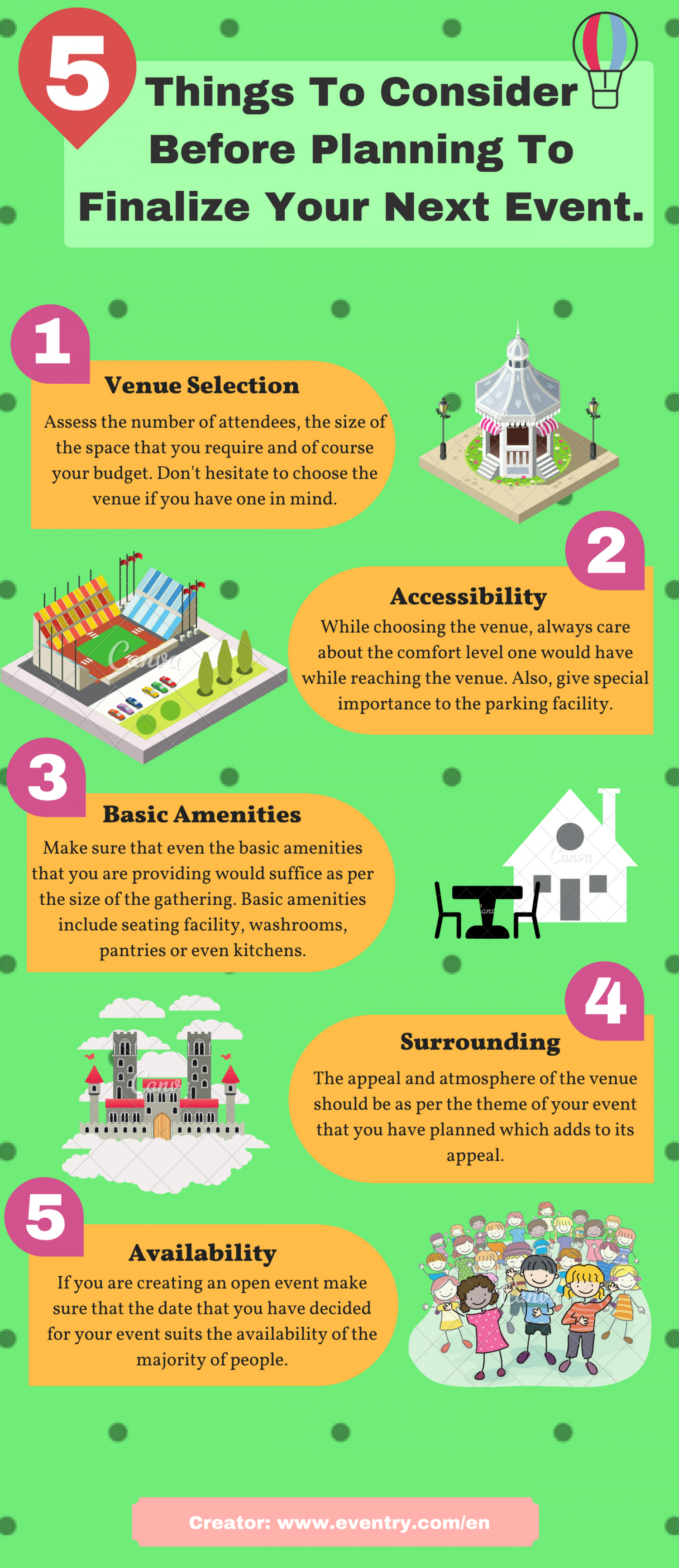 5 Things To Consider Before Planning To Finalize Your Next Event. Infographic