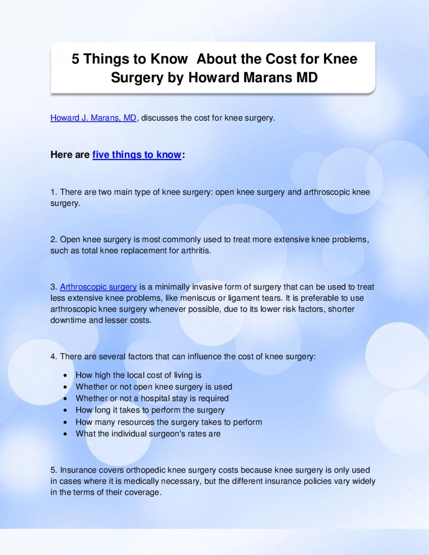 5 Things to Know About the Cost for Knee Surgery by Howard Marans MD Infographic
