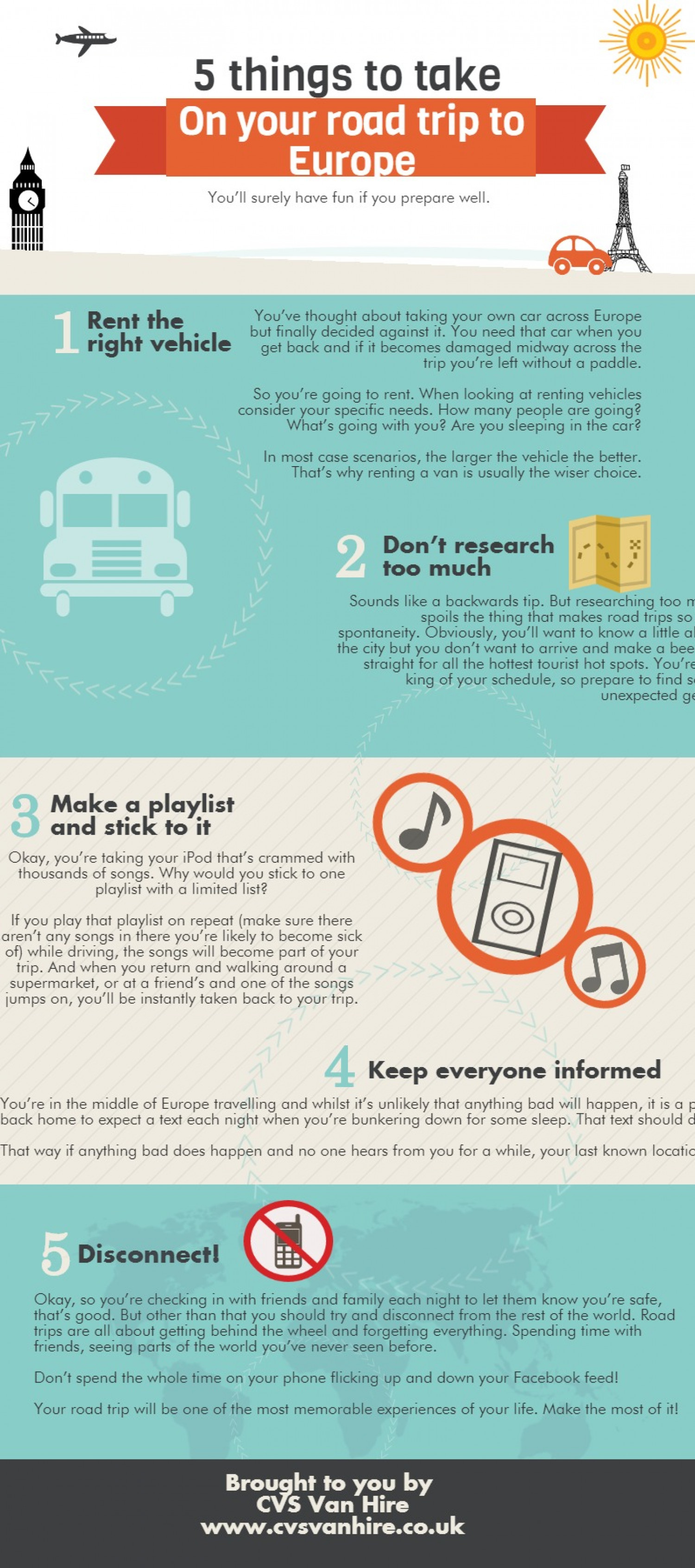 5 things to take on your road trip to Europe Infographic