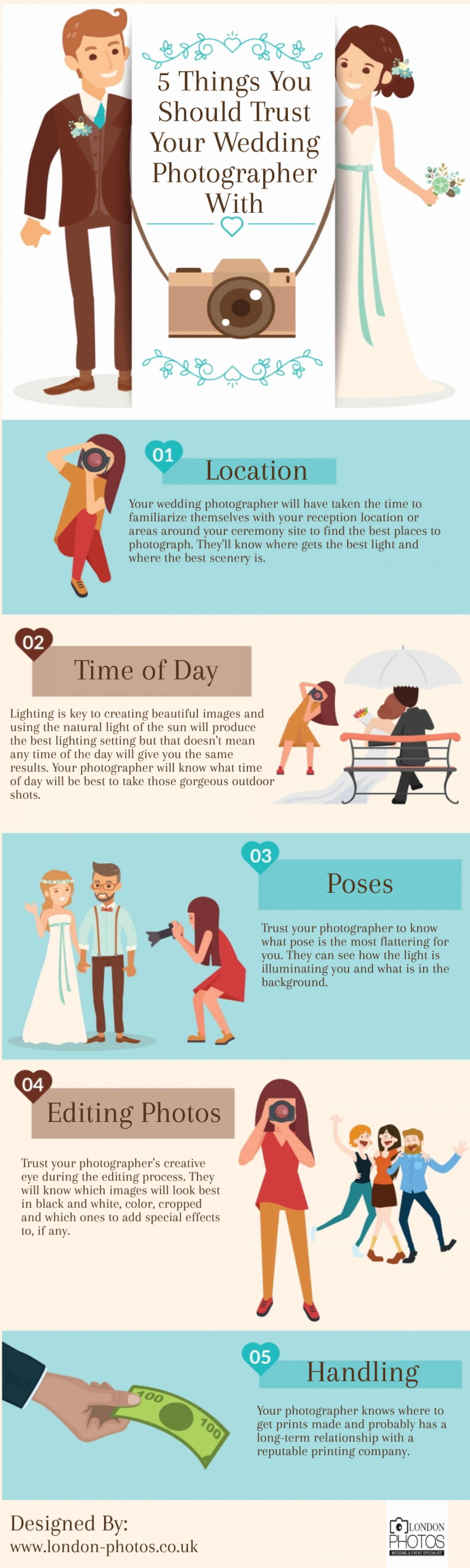 5 Things You Should Trust Your Wedding Photographer With Infographic