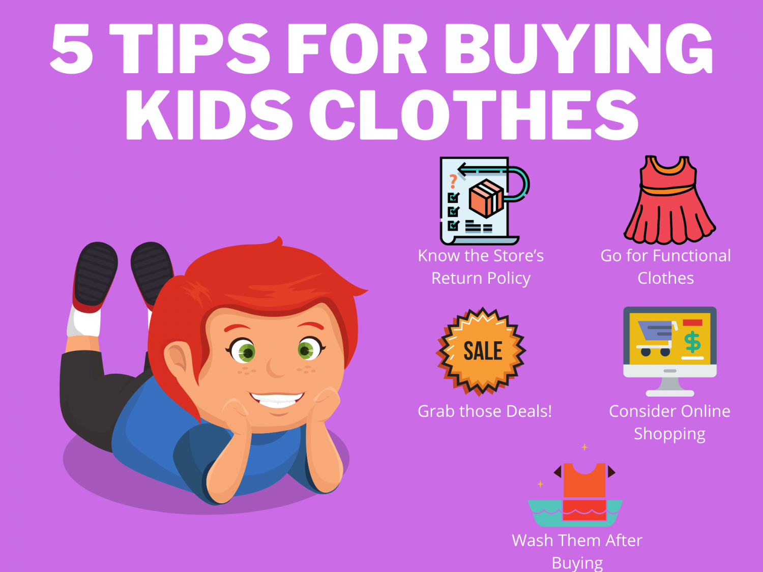 5 Tips for Buying Kids Clothes Infographic