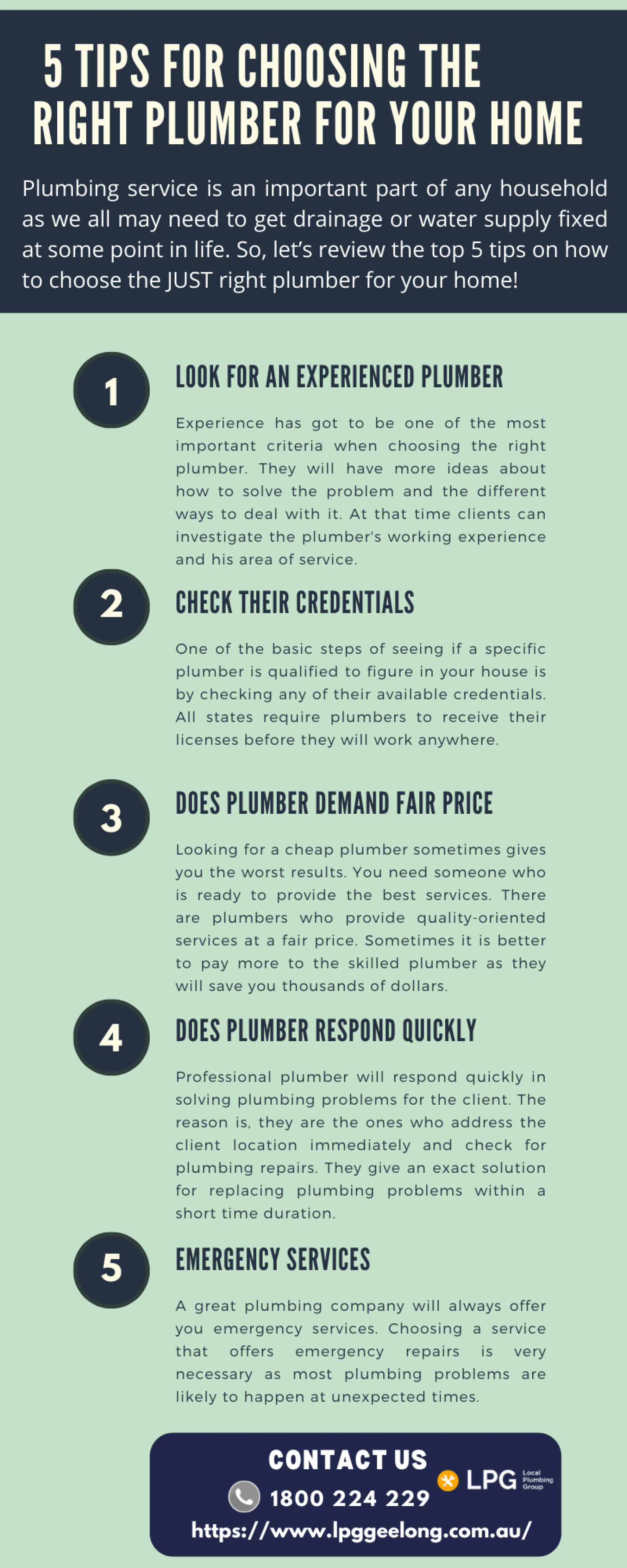 5 Tips For Choosing The Right Plumber For Your Home Infographic