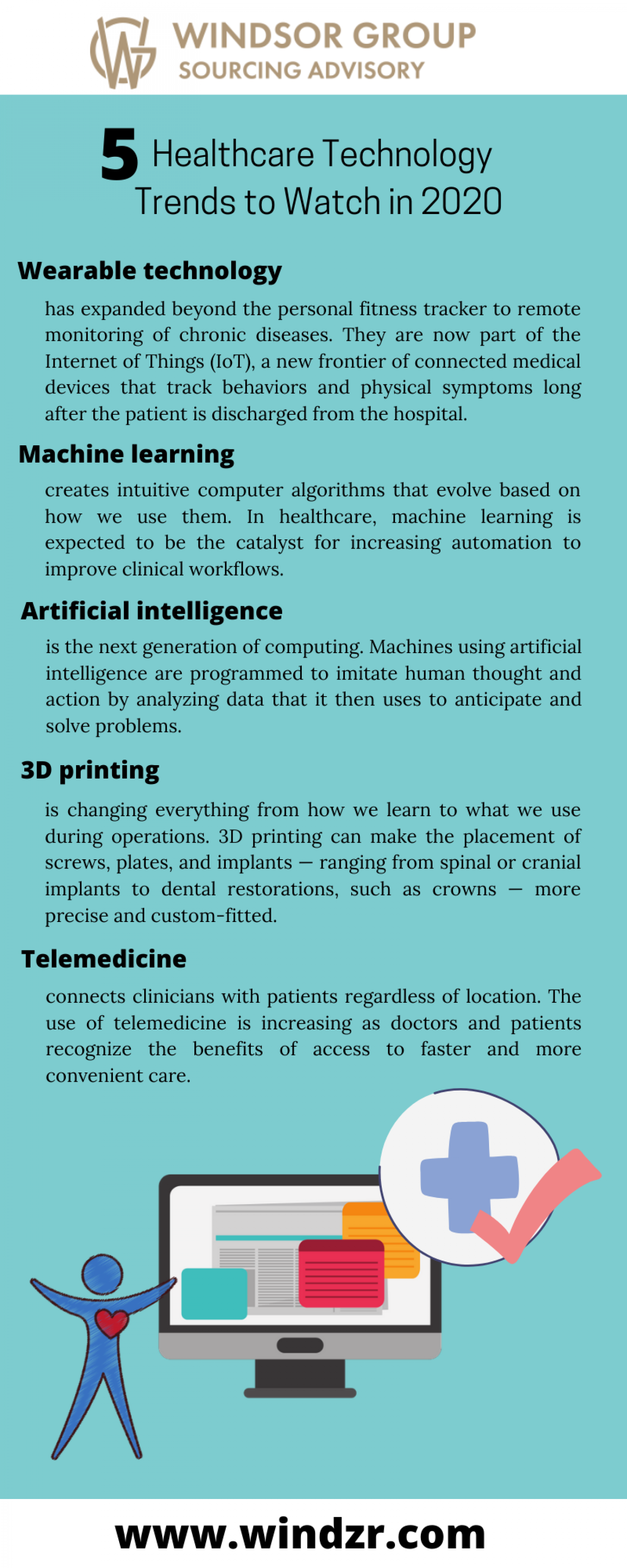 5 Tips For Emerging Trends in Healthcare Tech - Windsor Group Infographic