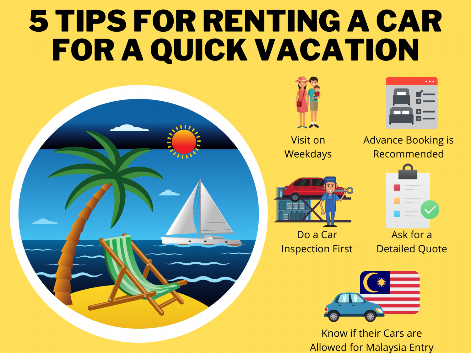 5 Tips for Renting a Car for a Quick Vacation Infographic
