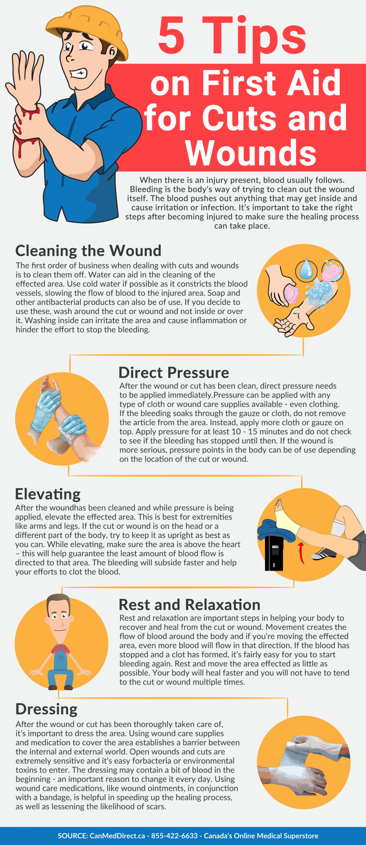 5 Tips on First Aid for Cuts and Wounds | Visual.ly