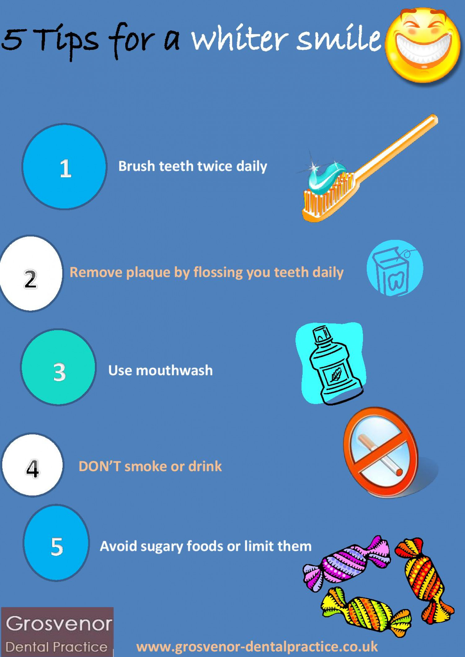5 Tips For a Whiter Smile Infographic