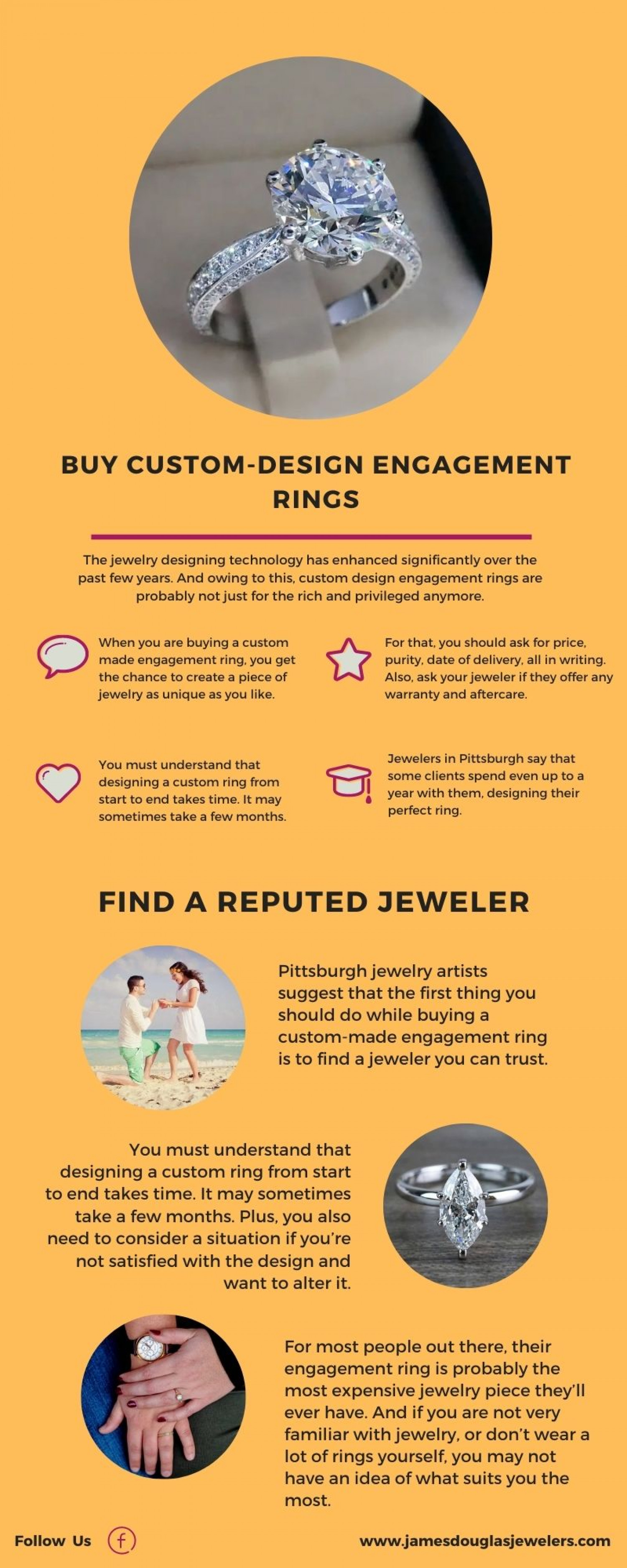 Tips to Buy Custom-Design Engagement Rings Infographic