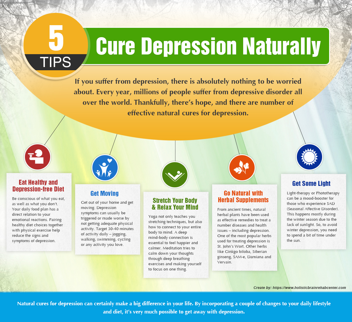 5 tips to cure depression naturally visual ly