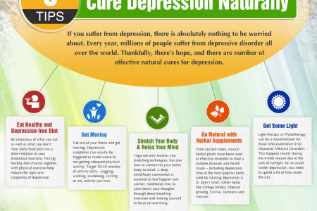 5 Tips to Cure Depression Naturally Infographic