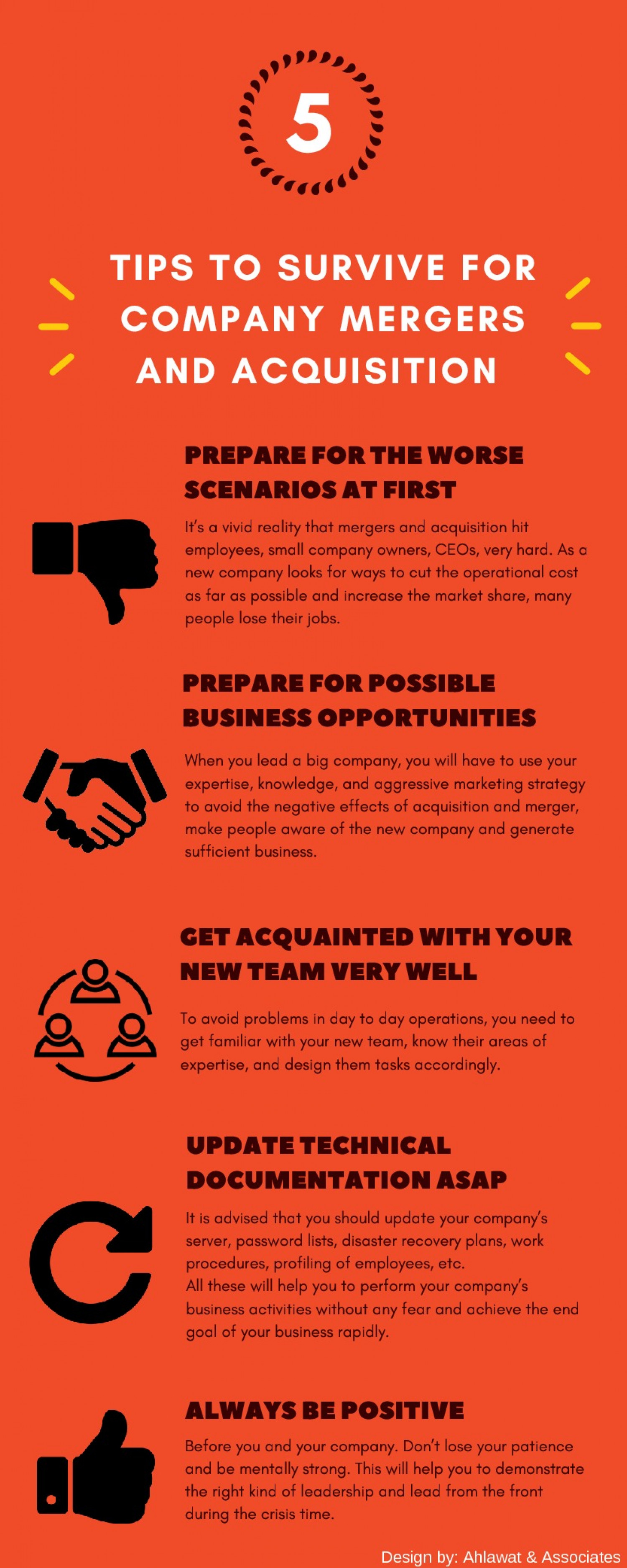 5 Tips To Survive And Succeed For Company Mergers And Acquisition Infographic