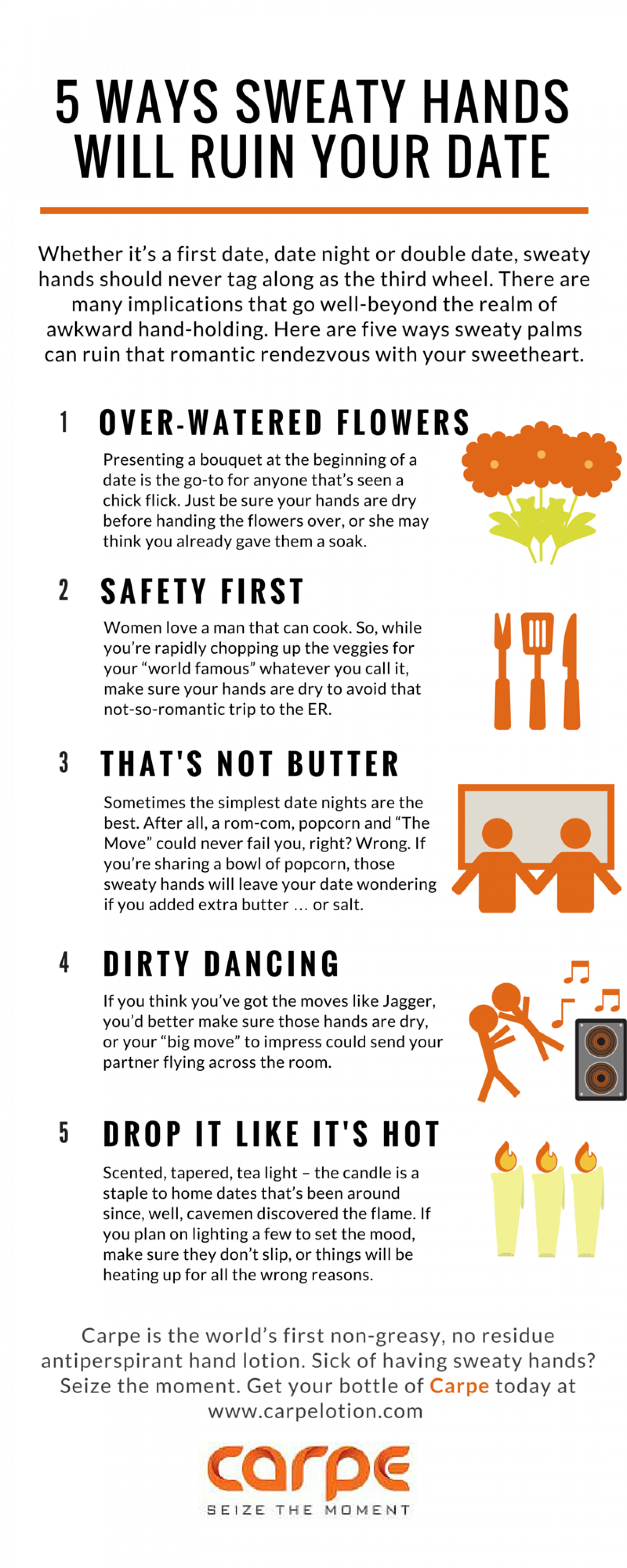 5 Ways Sweaty Hands Will Ruin Your Date Infographic