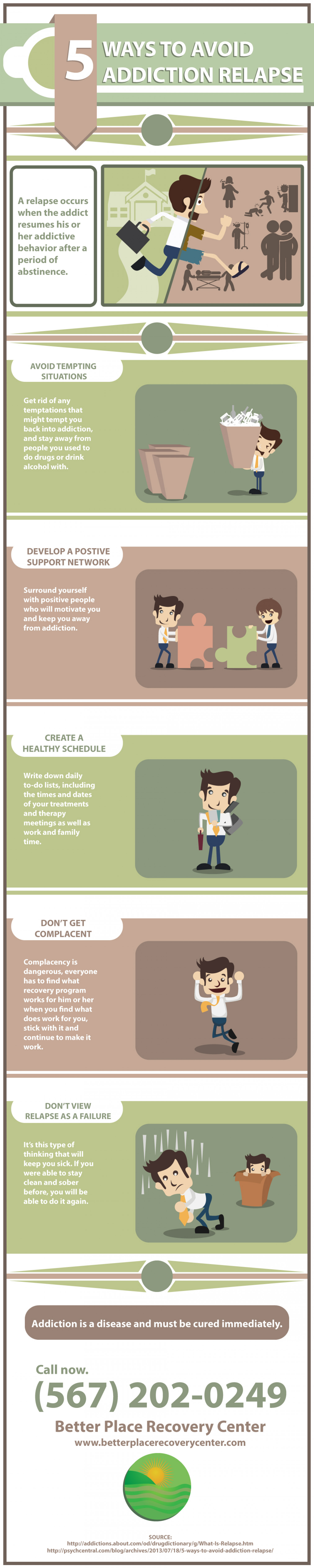 5 Ways to Avoid Addiction Relapse | Better Place Recovery Center Infographic
