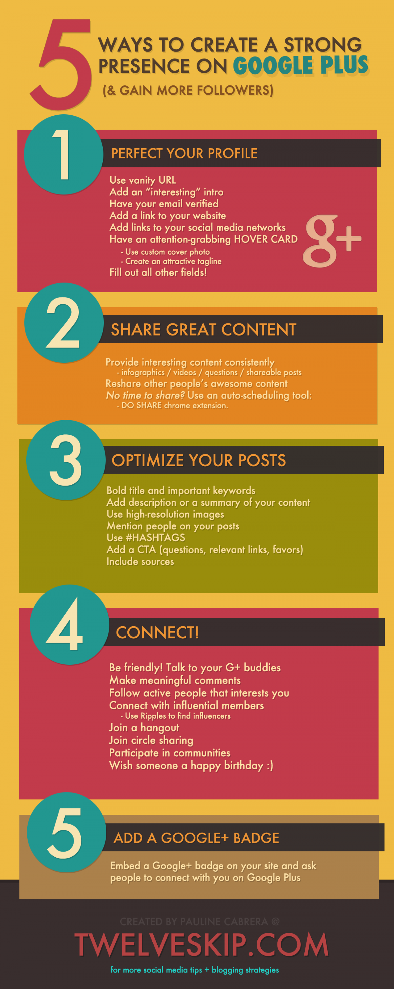 5 Ways To Create a Strong Presence on Google Plus (& Gain More Followers) Infographic
