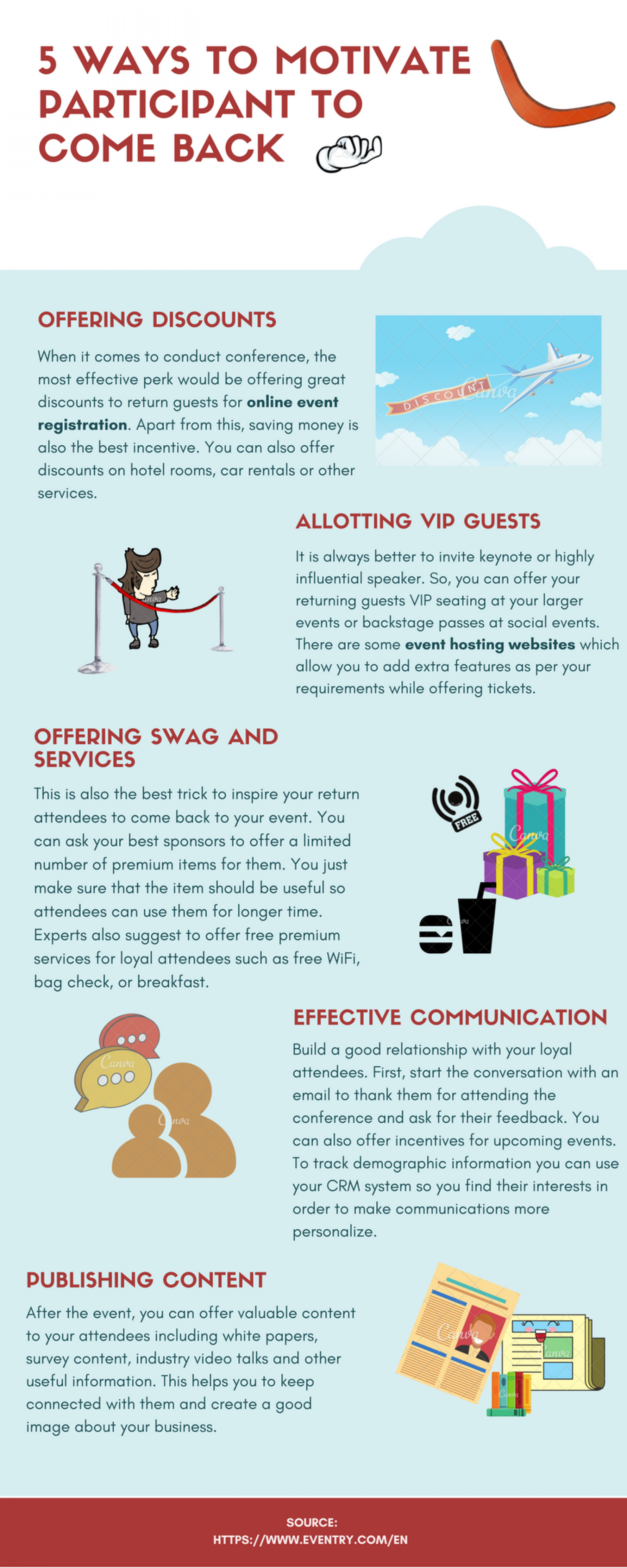 5 Ways To Motivate Participants To Come Back. Infographic