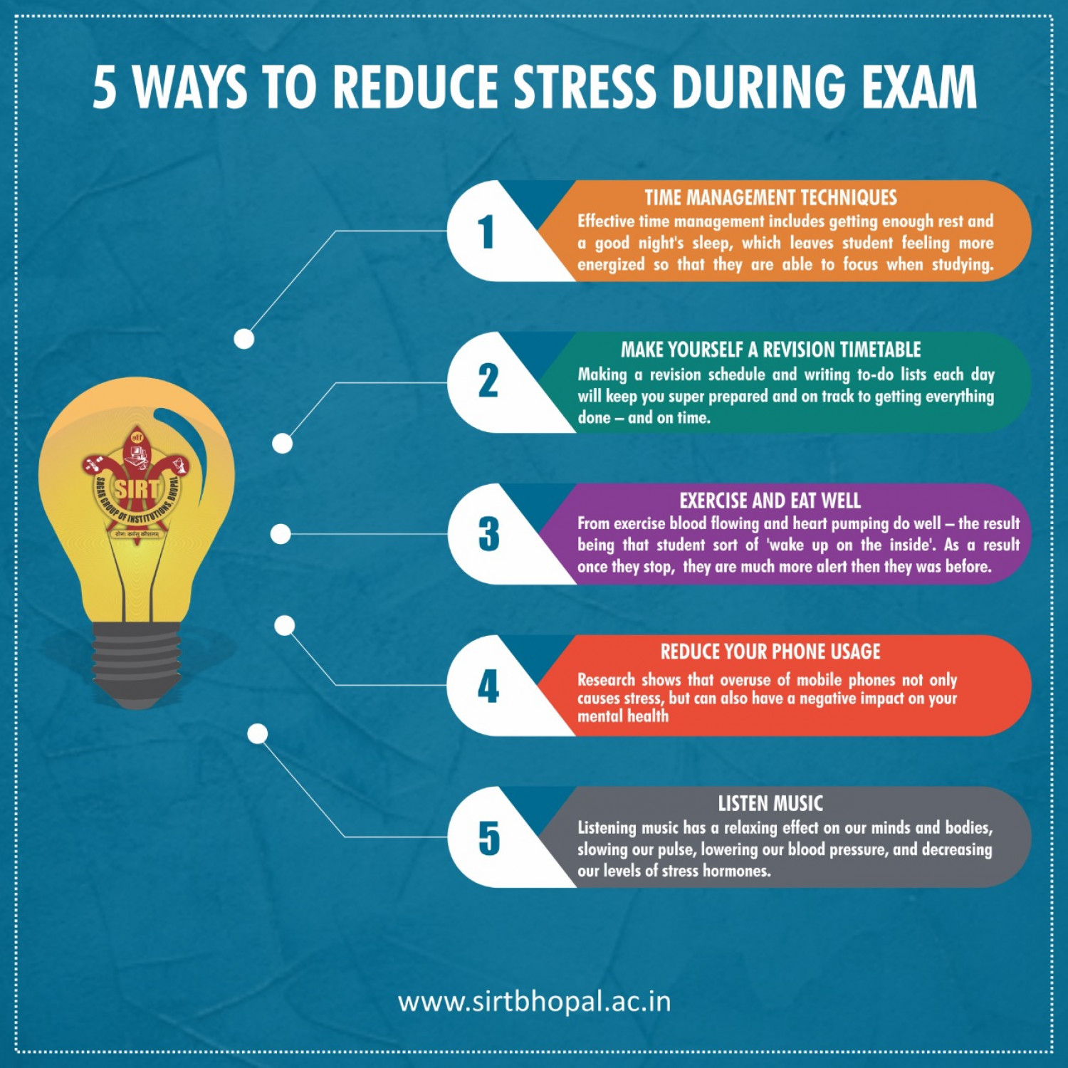 5 Ways to Reduce Stress during Exam Infographic