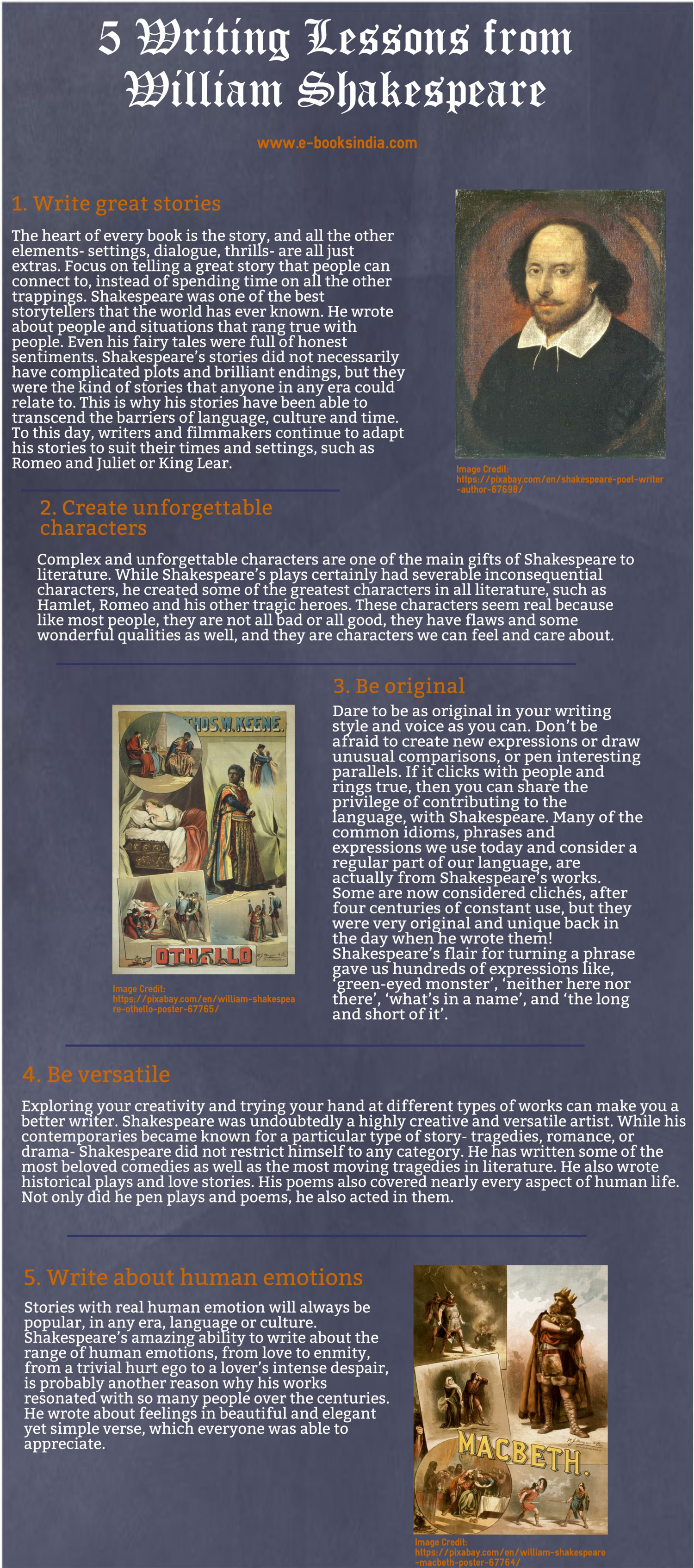 5 Writing Lessons from William Shakespeare Infographic