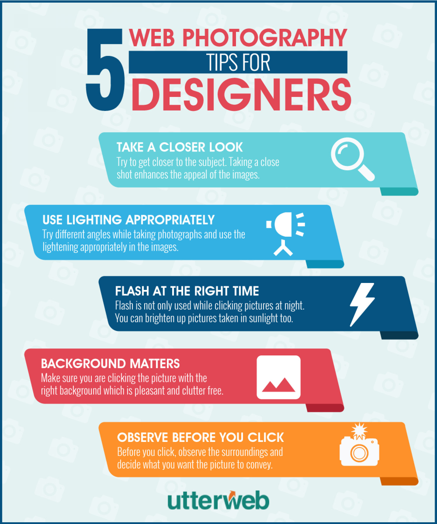 5 Web Photography Tips for Designers Infographic