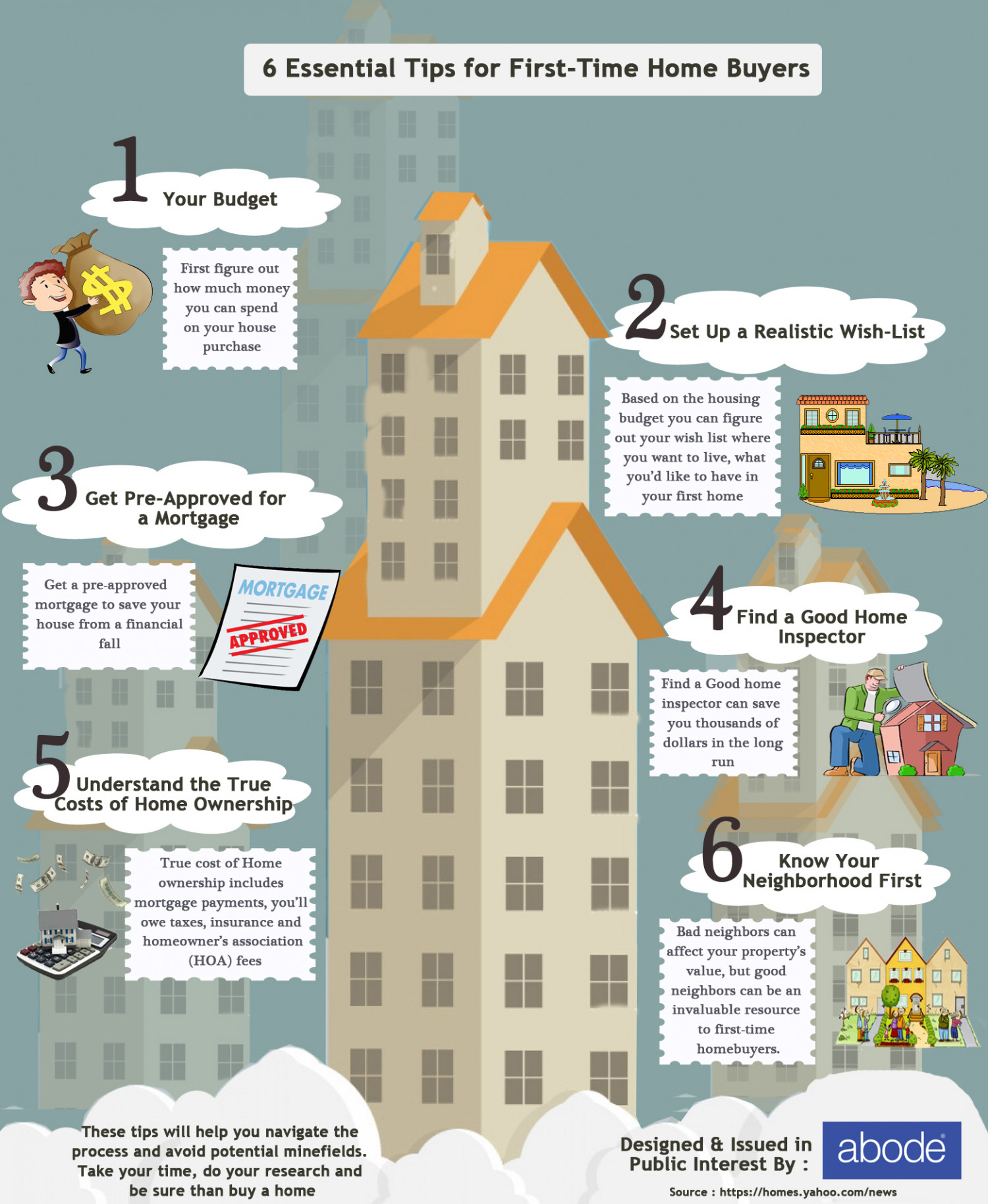6 Essential Tips For First Time Home Buyers | Visual.ly on home staging tips, home business tips, home owners tips, home seller tips, home inspection tips, home selling tips,