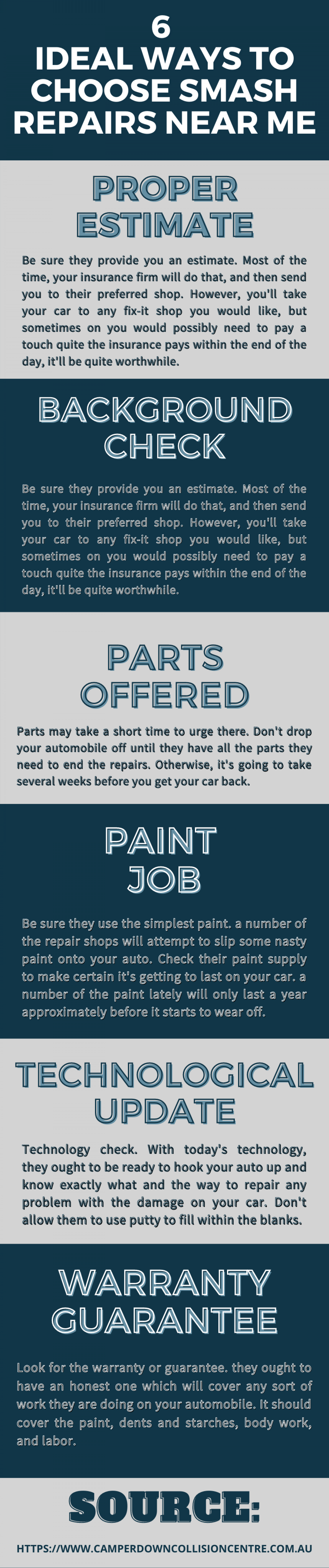 6 Ideal Ways to Choose Smash Repairs Near Me Infographic