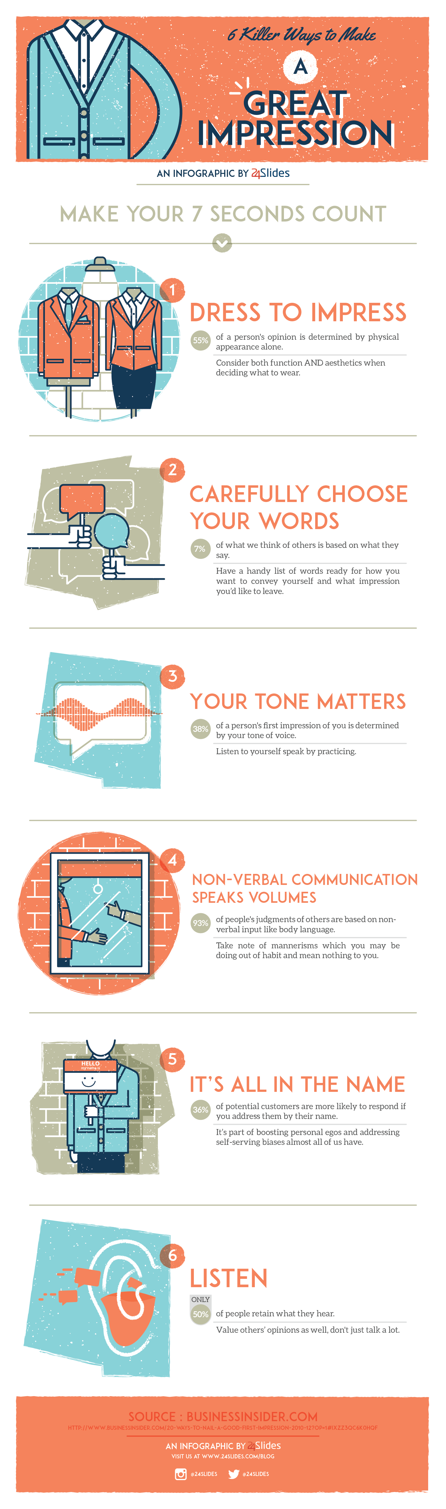 6 Killer Ways to Make a Great First Impression Infographic