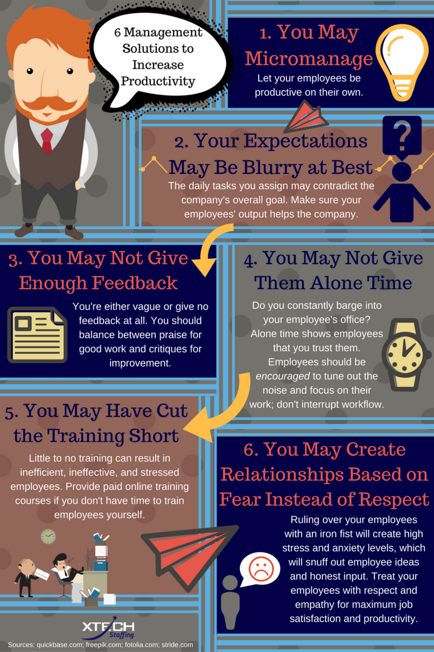 6 Management Solutions to Increase Productivity Infographic