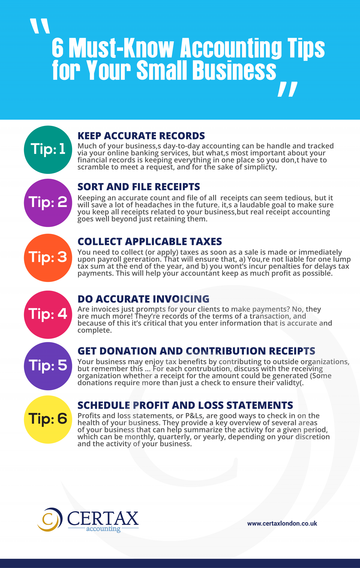 6 Must know accounting tips for small business Infographic