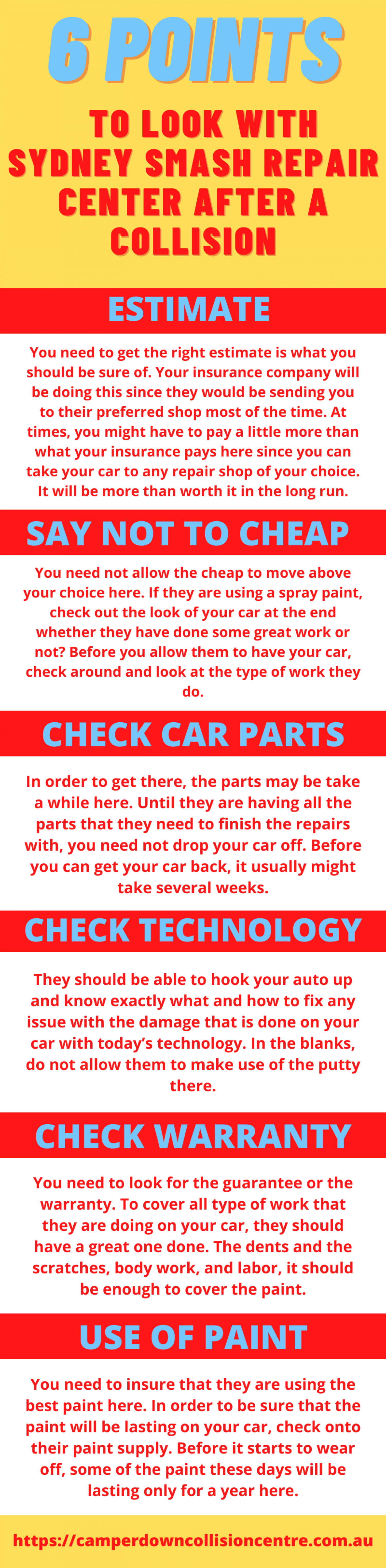 6 Points to Look with Sydney Smash Repairs Center After a Collision Infographic