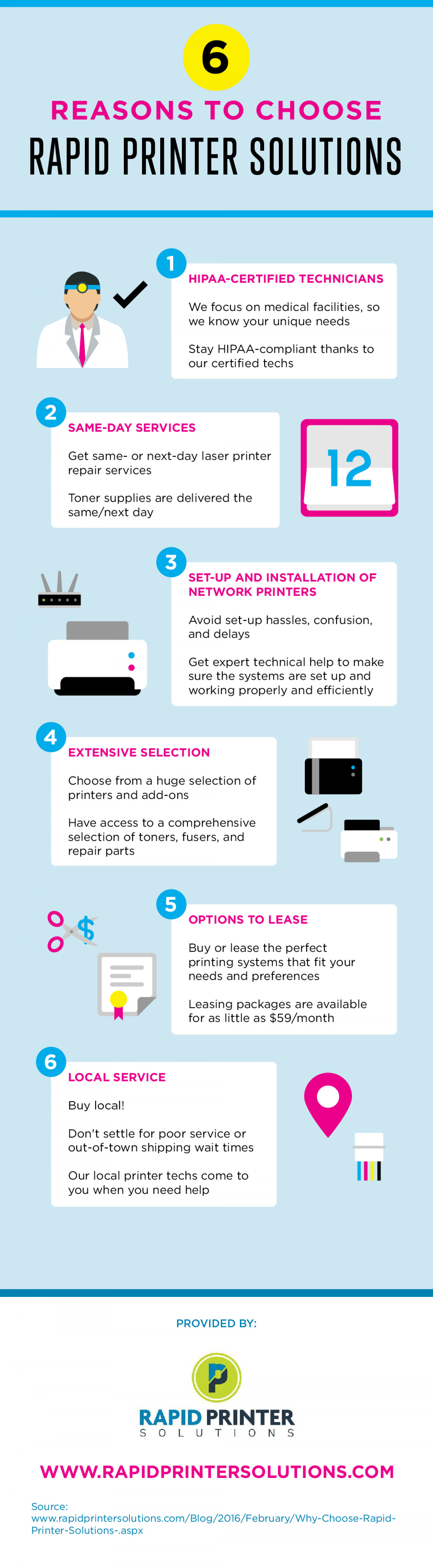 6 Reasons to Choose Rapid Printer Solutions Infographic