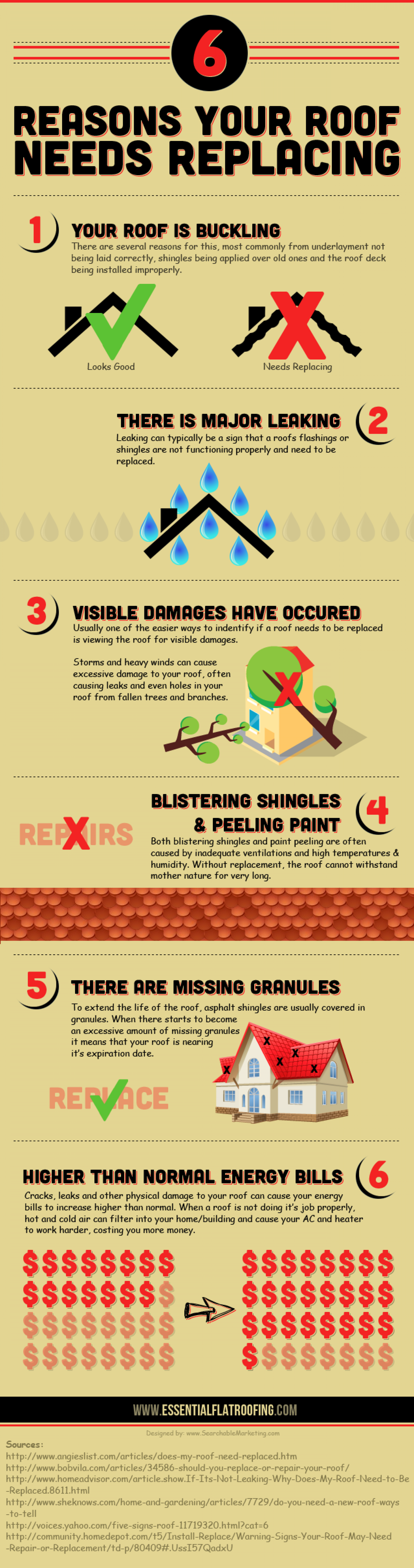 6 Reasons Your Roof Needs Replacing Infographic