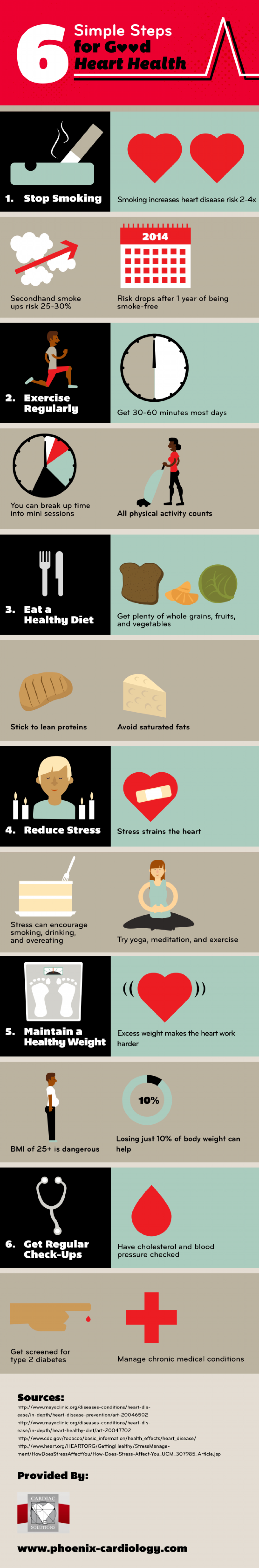 6 Simple Steps for Good Heart Health Infographic