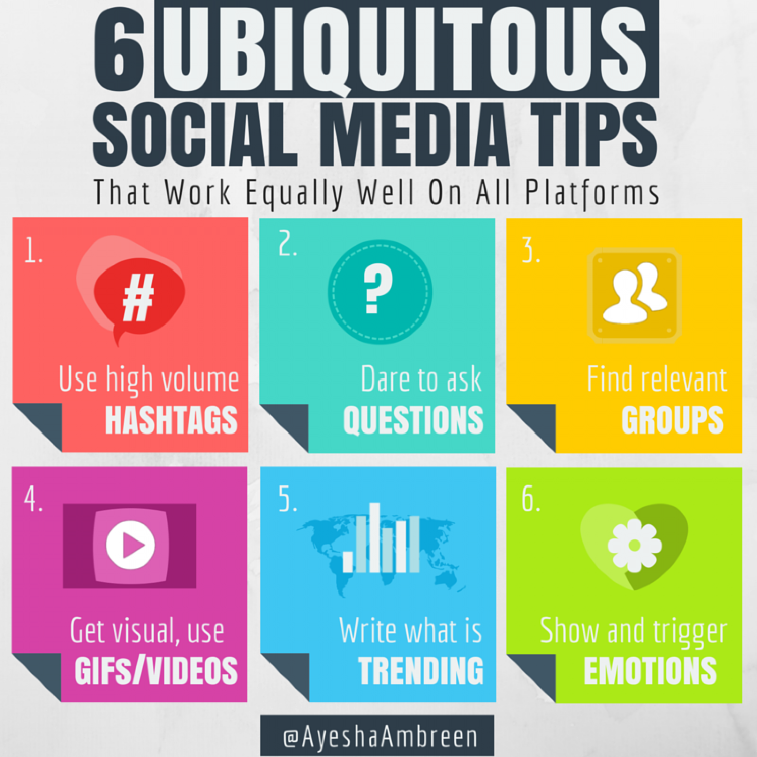 6 Ubiquitous Social Media Tips Infographic