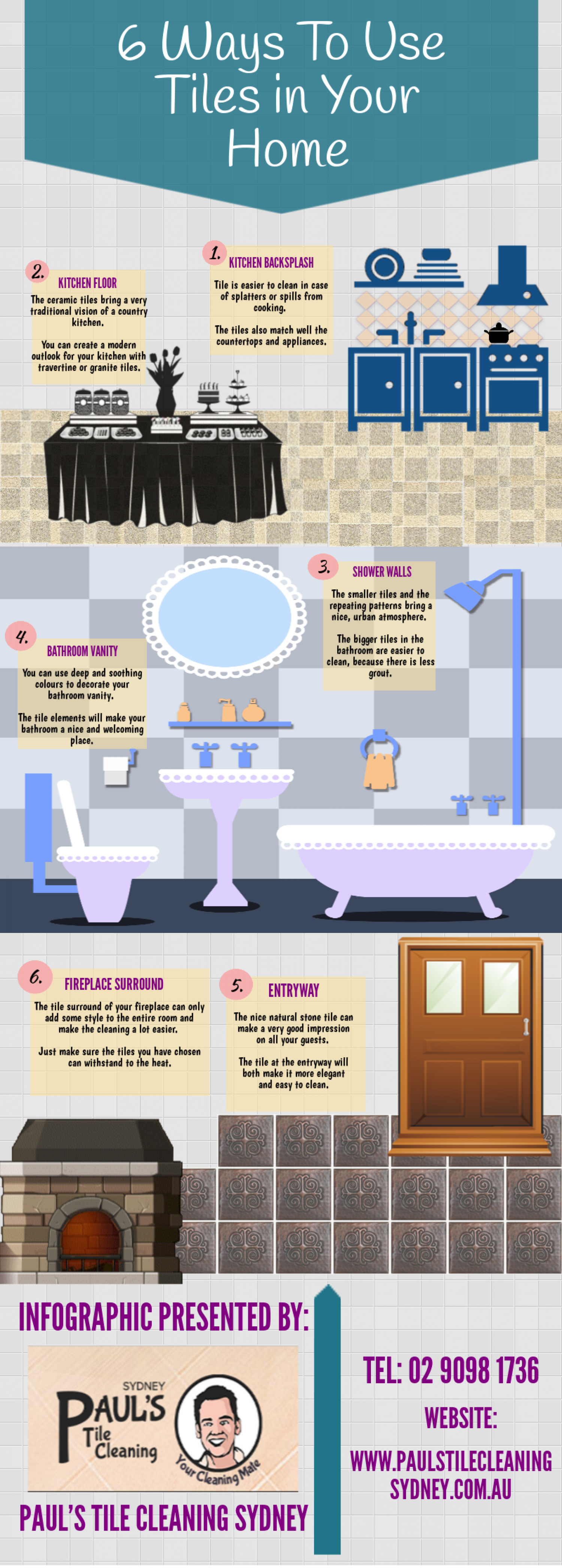 6 Ways to Use Tiles in Your Home Infographic