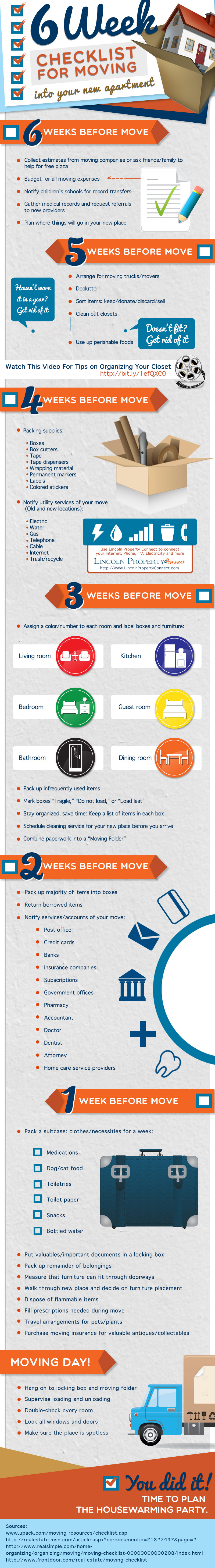 6 Week Checklist for Moving into Your New Apartment | Visual.ly