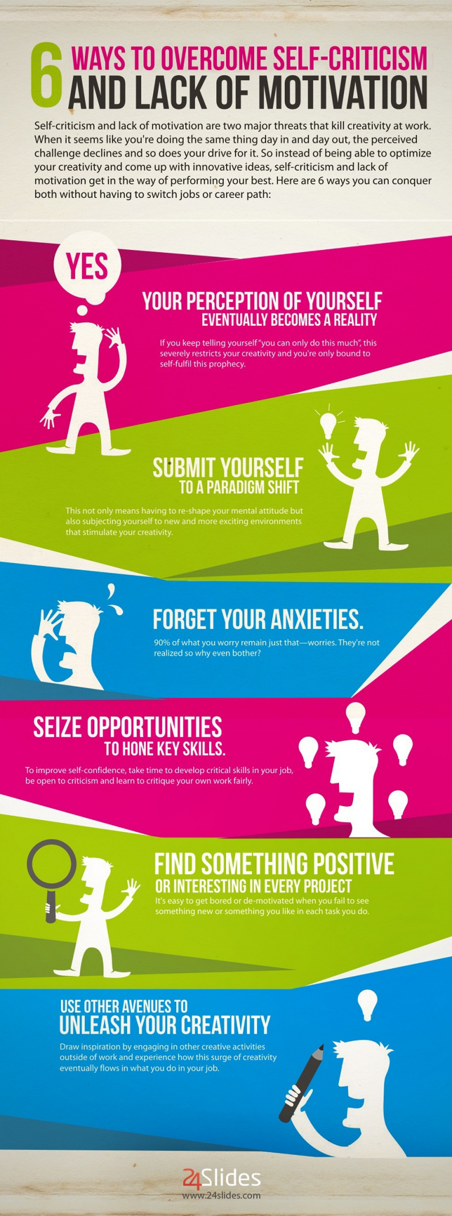 6 Ways to Conquer Self-Criticism and Lack of Motivation Infographic