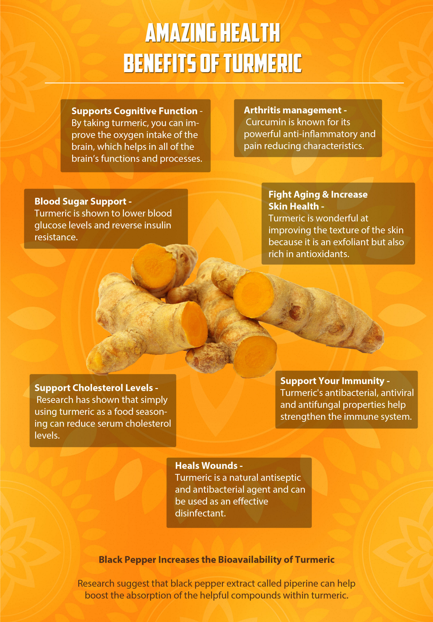 the amazing health benefits of 7 amazing health benefits of turmeric visual ly