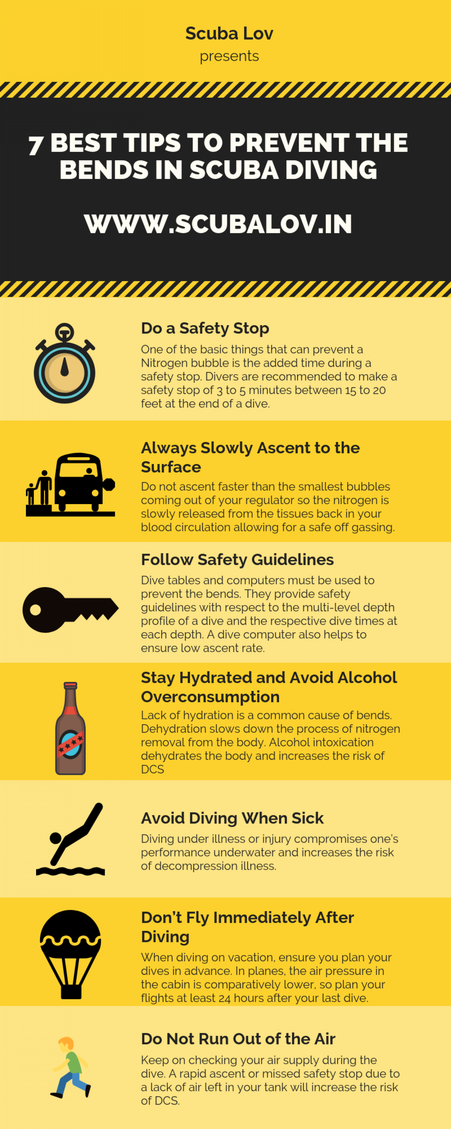 7 Best Tips to Prevent the Bends in Scuba Diving Infographic