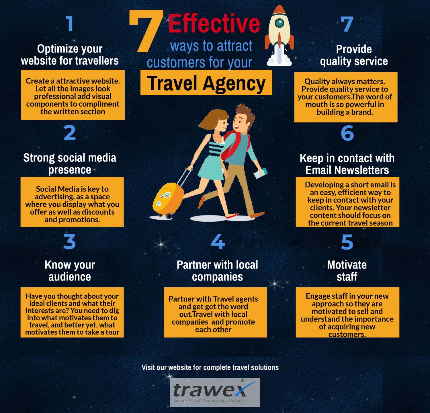 7 effective ways to attract customers for your travel agency Infographic