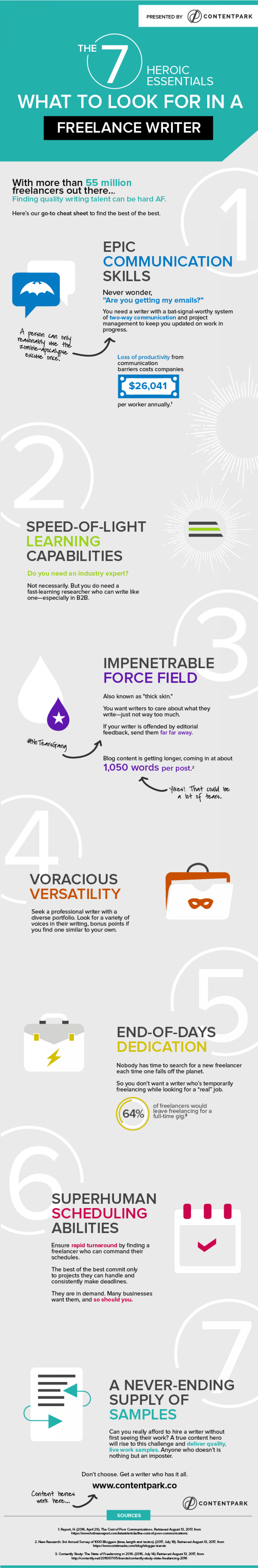 7 Heroic Essentials: What to Look for in Freelance Writers Infographic