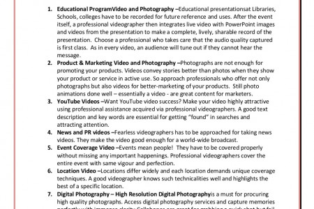 7 Significant Video and Photography Services For Personal / Professional Needs Infographic