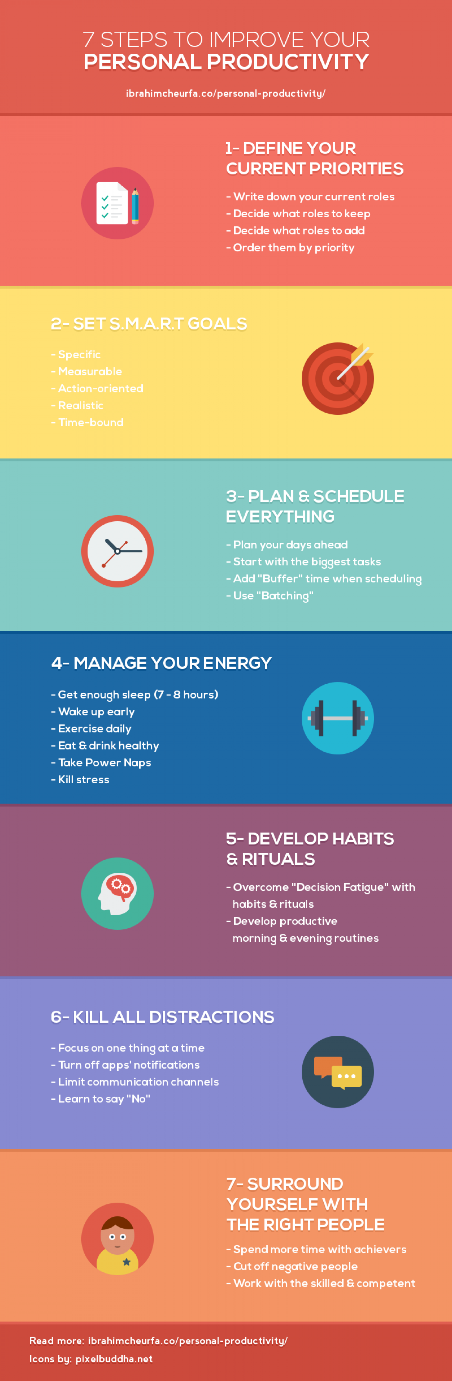 7 Steps to Improve Your Personal Productivity Infographic