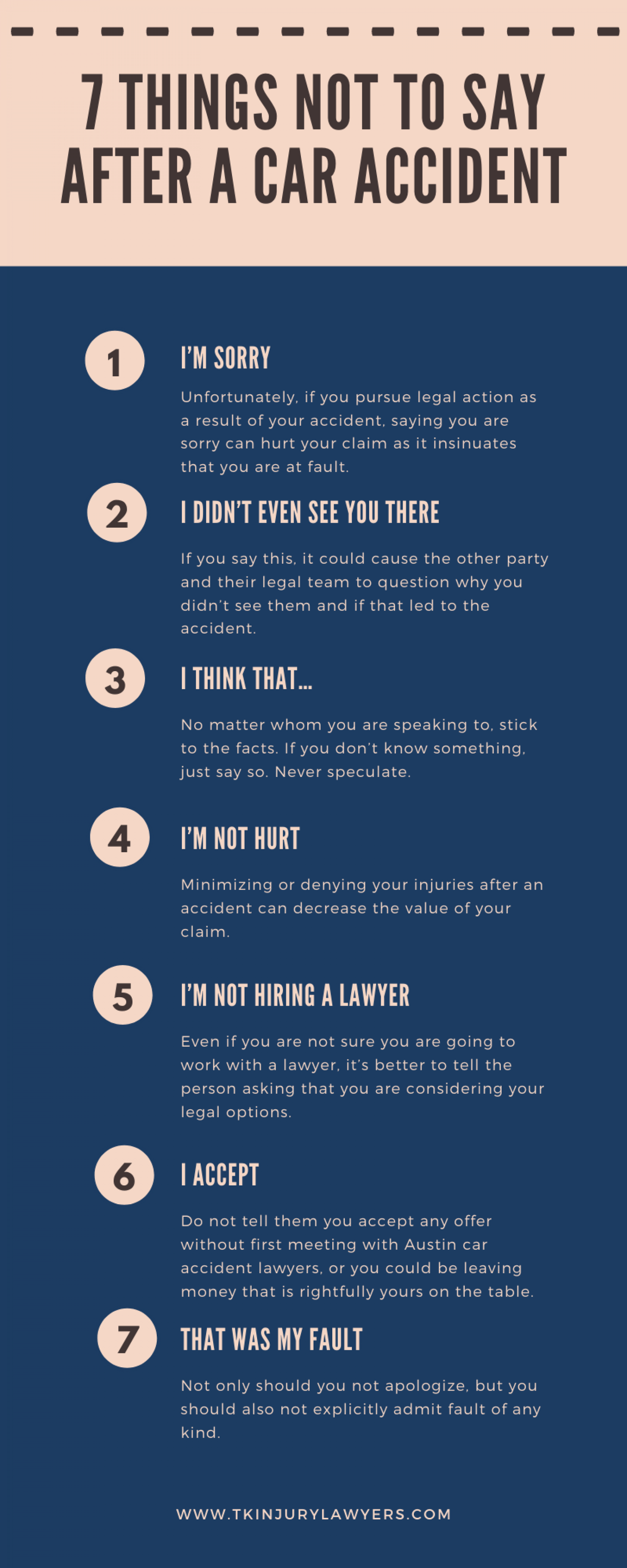 7 Things Not to Say After a Car Accident Infographic