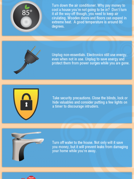 7 Things to do Around the House Before Going on Vacation Infographic